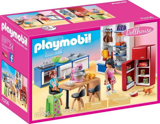Playmobil® Konstruktions-Spielset »Familienküche (70206), Dollhouse«, (129 St), Made in Germany