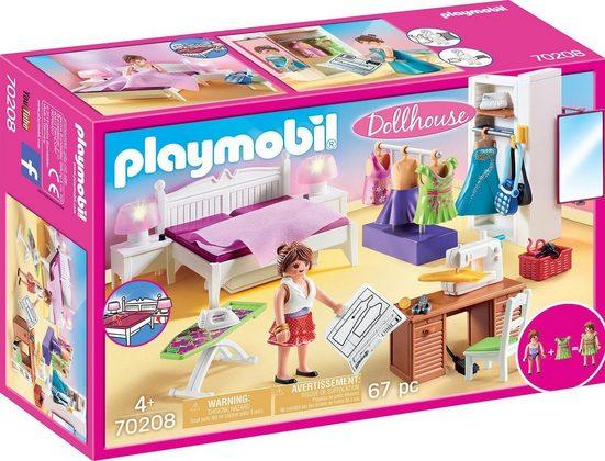 Playmobil® Konstruktions-Spielset »Schlafzimmer mit Nähecke (70208), Dollhouse«