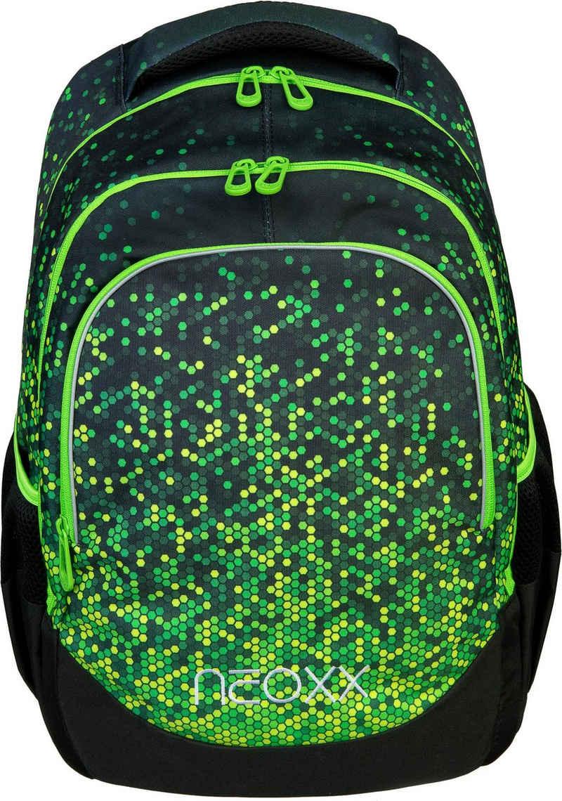 neoxx Schulrucksack »Fly, Pixel in my mind«, aus recycelten PET-Flaschen
