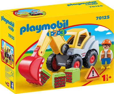 Playmobil® Konstruktions-Spielset »Schaufelbagger (70125), Playmobil 123«, Made in Europe