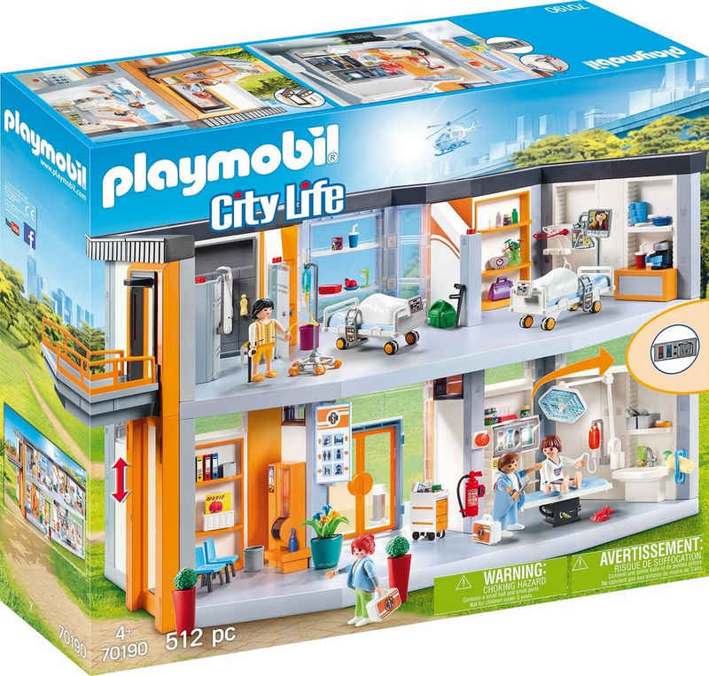 Playmobil® Konstruktions-Spielset »Großes Krankenhaus mit Einrichtung (70190), City Life«, (512 St), Made in Germany