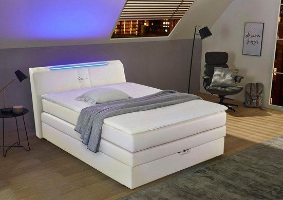 Jockenhöfer Gruppe Boxspringbett, mit Bettkasten, RGB-Beleuchtung und Topper