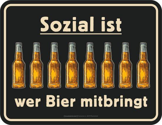 Rahmenlos Blechschild mit lustigem Bier-Print