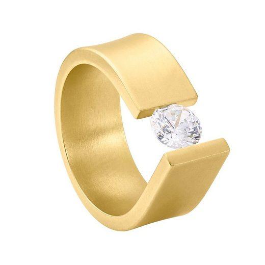 Heideman Fingerring »Maxime Gold«, Damen Spannring mit Swarovski Stein