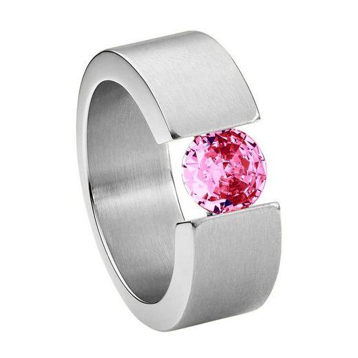 Heideman Fingerring »Turris Glanzmatt«, Ring mit Stein als Spannring gearbeitet