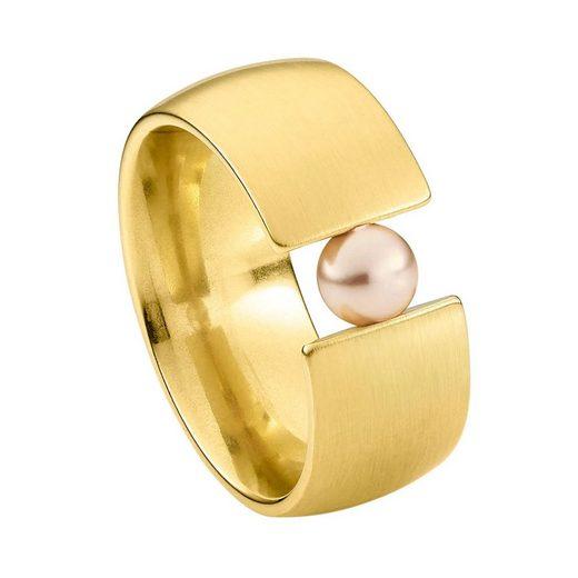 Heideman Perlenring »Globus Xl Vergoldet«, Damenring mit Swarovski Perle