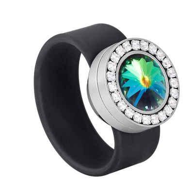 Heideman Fingerring »Colori Kristall-Schwarz« (1-tlg), mit Kristall Austauschbar