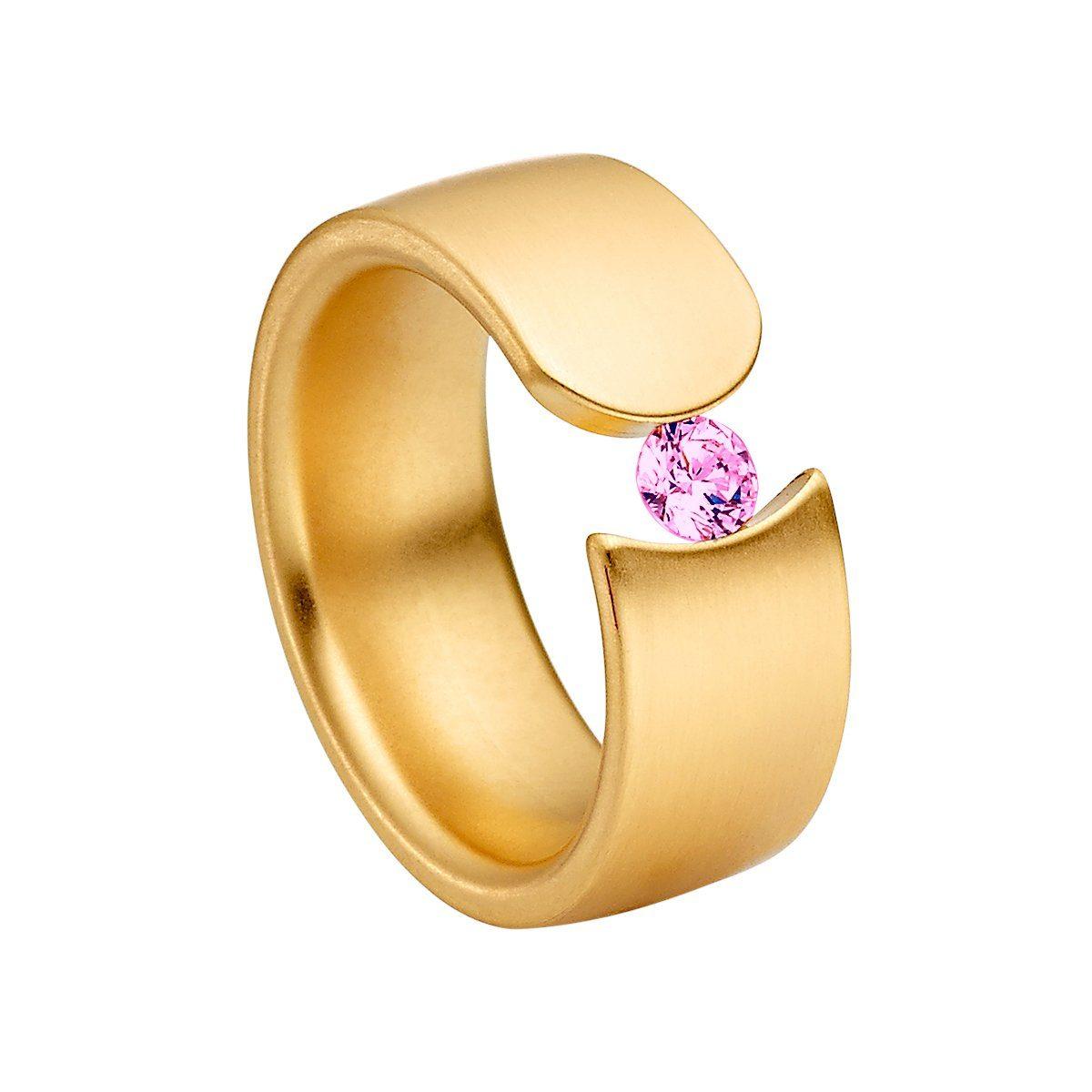 Heideman Fingerring »Elegantia Gewölbt Vergoldet« Ring mit Stein als Spannring gearbeitet