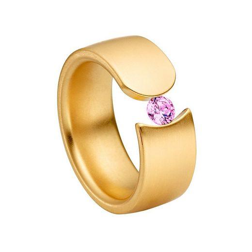 Heideman Fingerring »Elegantia Gewölbt Vergoldet« (1-tlg), Ring mit Stein als Spannring gearbeitet