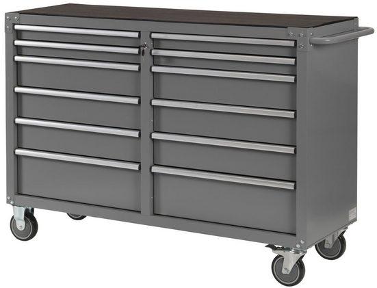 Unbefüllter Werkstattwagen »Miami III«, 2x6 Schubladen, abschließbar, zur Selbstmontage