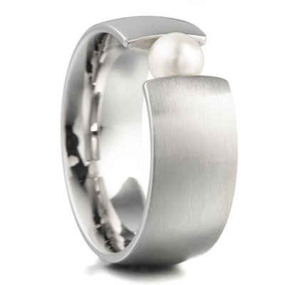 Heideman Perlenring »Globus Xl Strichmatt« (1-tlg), Damenring mit Perle