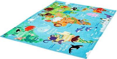 Kinderteppich »My Torino Kids 233«, Obsession, rechteckig, Höhe 10 mm, Motiv Weltkarte, Kinderzimmer