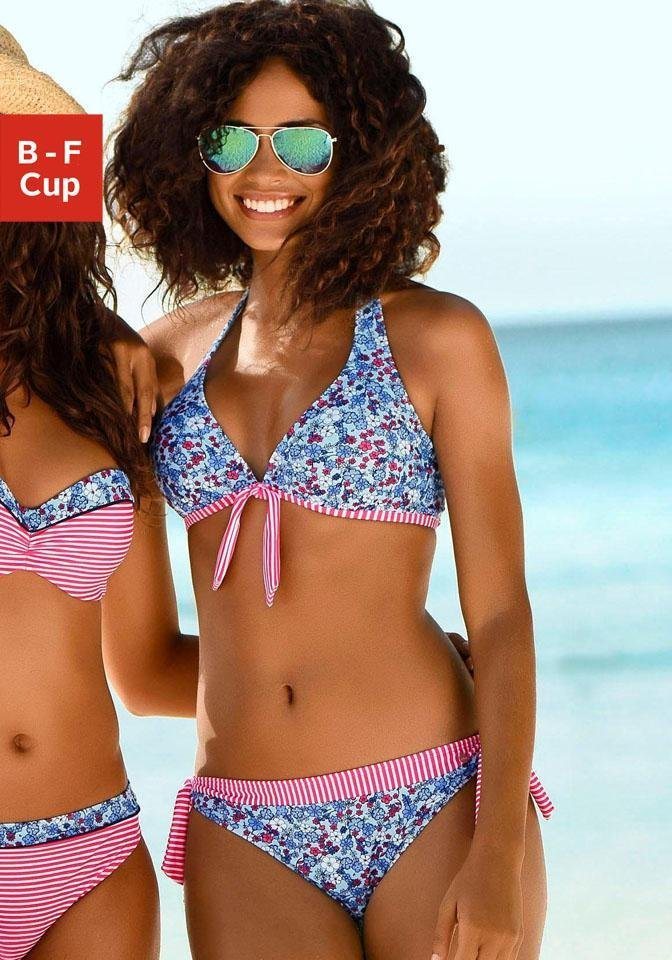 Bademode - s.Oliver Bügel Bikini Top »Jill«, mit Mustermix › blau  - Onlineshop OTTO