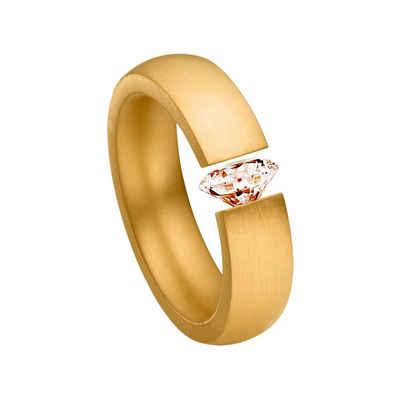 Heideman Fingerring »Harmonia goldfarbend« (1-tlg), Spannring mit Zirkonia Stein weiß oder farbig