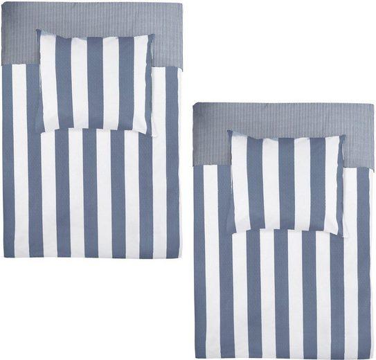 Wendebettwäsche »Everline«, Walra, mit feinen und großen Streifen (4tlg-Set)