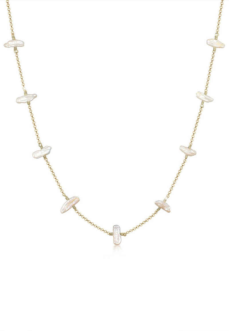 Elli Perlenkette »Süßwasserzuchtperle Barock Natur Edel 925 Silber«
