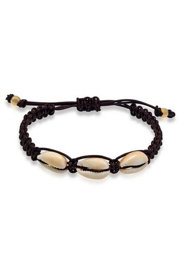 Kuzzoi Armband »Herren Kauri Muscheln Knoten Leder 925 Silber«
