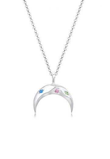 Elli Collierkettchen »Sichel Mond Bunt Swarovski® Kristalle 925 Silber«
