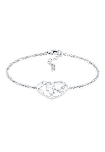 Elli Armband »Weltkugel Globus Reise Herz Cut Out 925 Silber«