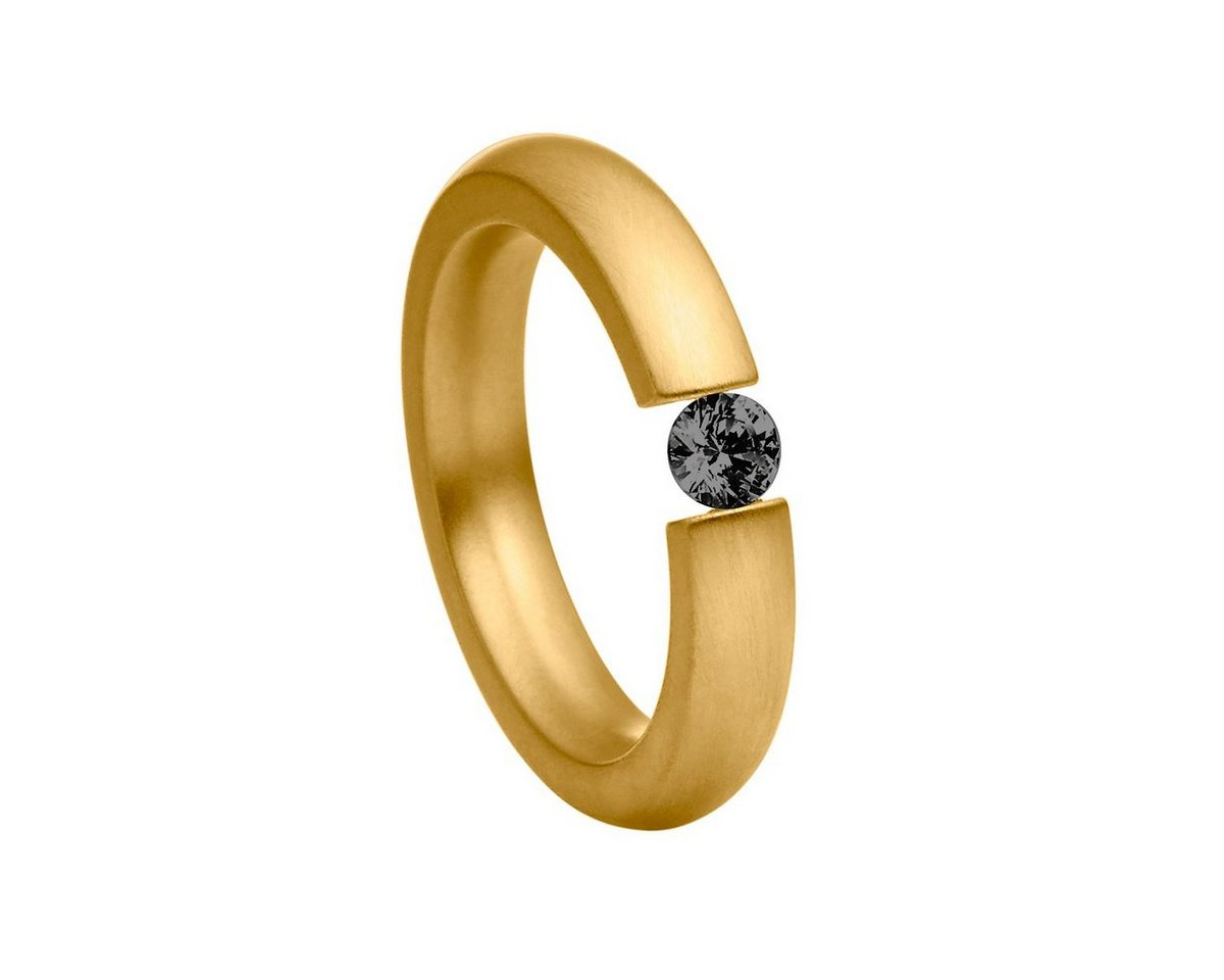 Heideman Fingerring »Elegantia Vergoldet Gewölbt« Ring mit Stein als Spannring gearbeitet   Schmuck > Ringe > Goldringe   Schwarz   Heideman