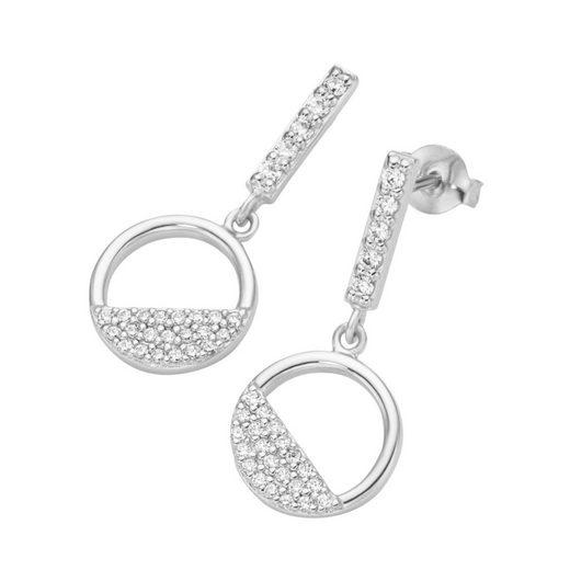 Smart Jewel Paar Ohrstecker »Kreis mit Zirkonia Steine, Silber 925«