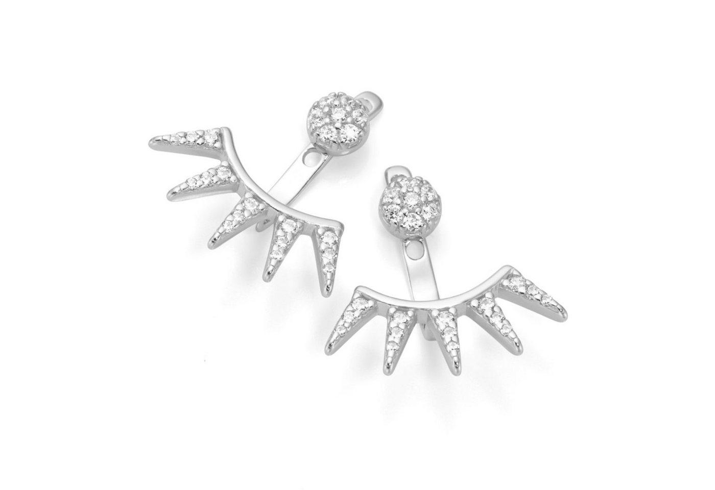 Smart Jewel Paar Ohrstecker »2-teilig Einhänger mit Zacken, Silber 925«   Schmuck > Ohrschmuck & Ohrringe > Ohrstecker   Weiß   Smart Jewel