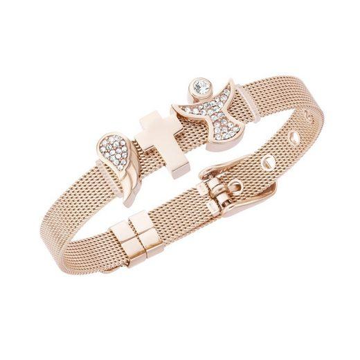 Jacques Charrel Armband »Milanaise mit Kristallsteinen Flügel, Kreuz, Engel«