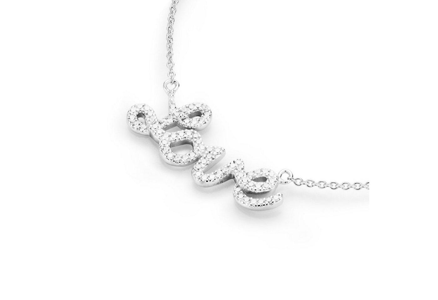 Smart Jewel Statementkette »Love - Schriftzug mit Zirkonia Steinen« | Schmuck > Halsketten > Statementketten | Weiß | Smart Jewel