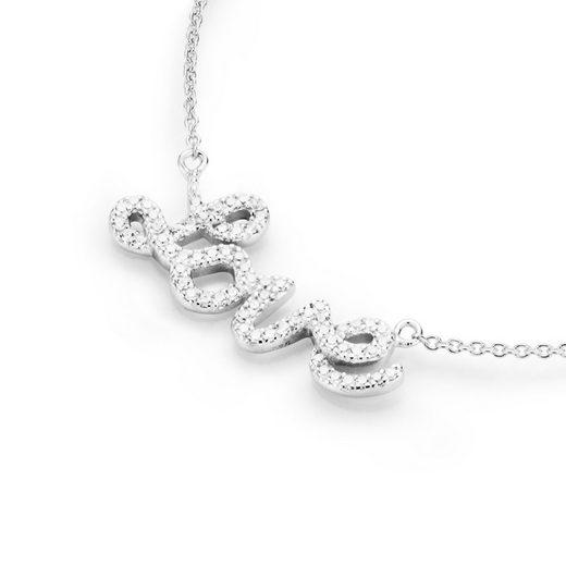 Smart Jewel Statementkette »Love - Schriftzug mit Zirkonia Steinen, Silber 925«