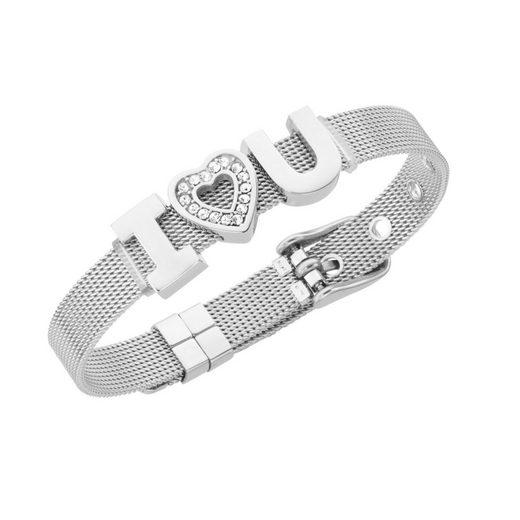 Jacques Charrel Armband »Milanaise mit Kristallsteinen I Love You«
