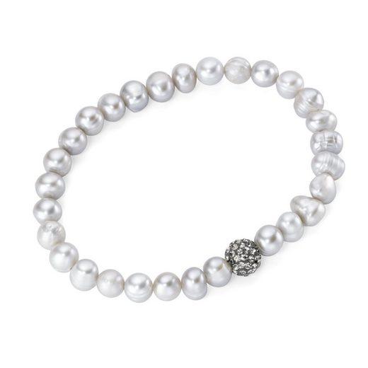 Smart Jewel Armband »auf Gummifaden mit Perlen und Kristallstein«