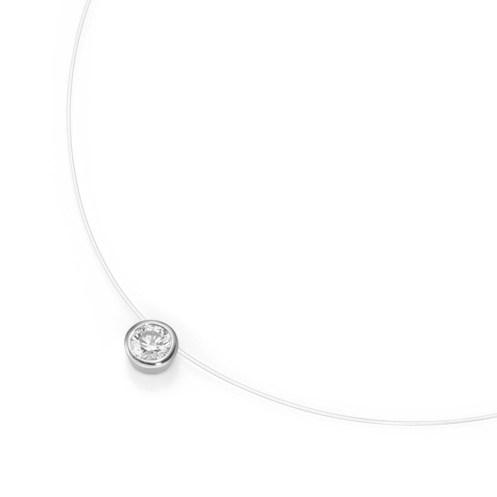 Halsreif unsichtbare Nylon Kette Halskette schwebende Anhänger Stern 925 Silber