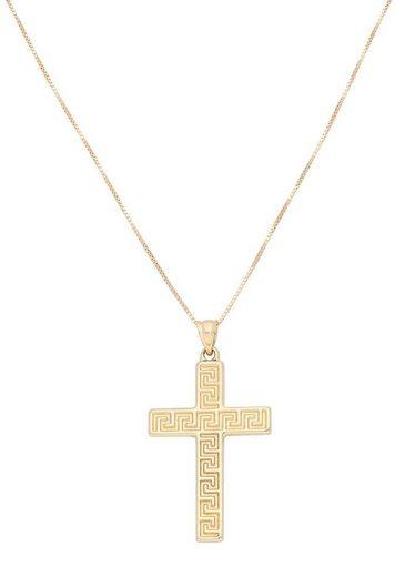 Firetti Kette mit Anhänger »Kreuz mit Mäander-Muster«