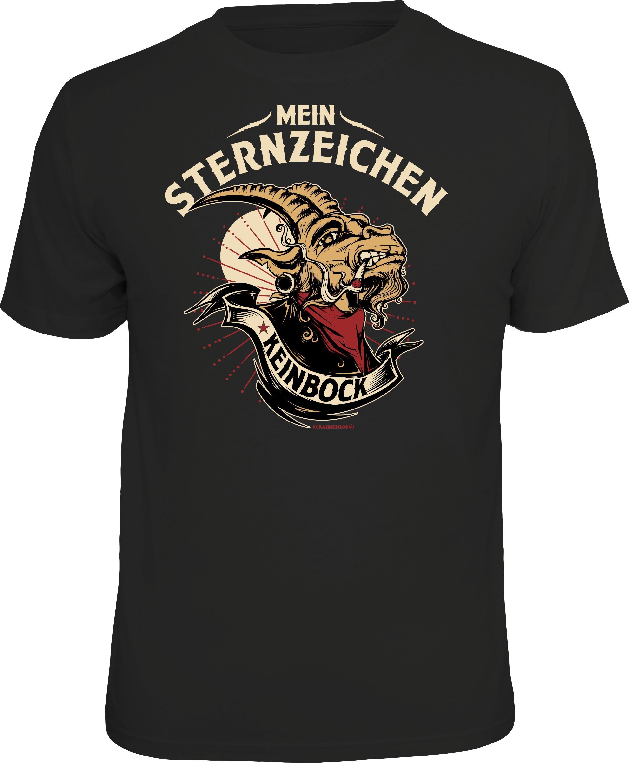 Herren Rahmenlos T-Shirt mit lustigem Keinbock Sternzeichen-Print schwarz | 04052743920066