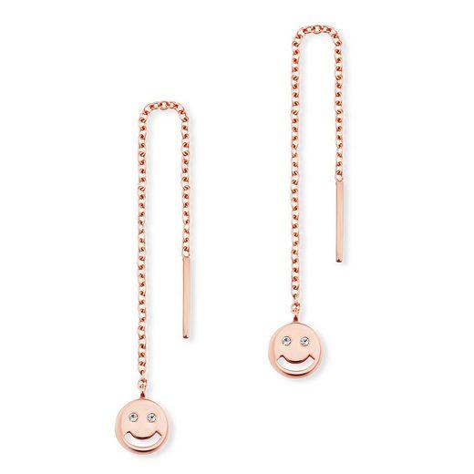 CAÏ Ohrhänger »925/- Sterling Silber rotvergoldet Zirkonia Emoji«