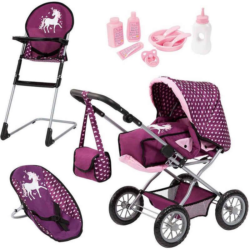 Bayer Puppenwagen »Kombi Grande Set Einhorn lila mit Puppenwagen«
