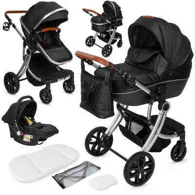ib style Sport-Kinderwagen »Kinderwagen Olina 3 in 1 Schwarz«, inkl. Babyschale/Autositz - separater Buggy Aufsatz - inkl. Matratze