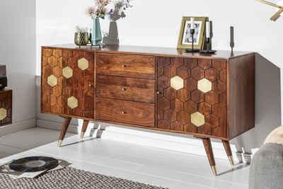 riess-ambiente Sideboard »MYSTIC LIVING 145cm braun / gold«, Massivholz · Anrichte · Retro Design · Kommode · Wohnzimmer