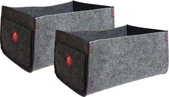 Franz Müller Flechtwaren Aufbewahrungsbox »Filzwerk« (Set, 2 Stück), mit praktischen Seitentaschen