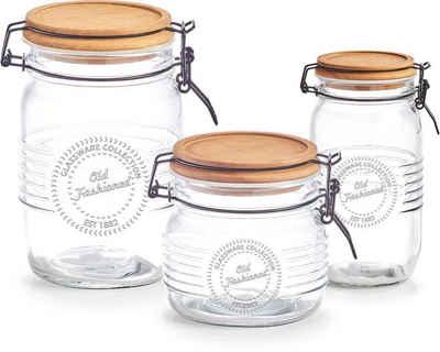 Zeller Present Vorratsglas, Holz, Glas, Metall, (Set, 3-tlg)