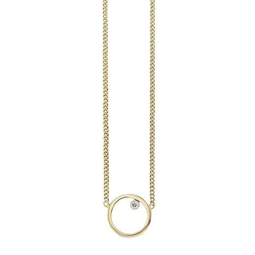 CAÏ Collier »925/- Sterling Silber vergoldet Zirkonia Kreis«