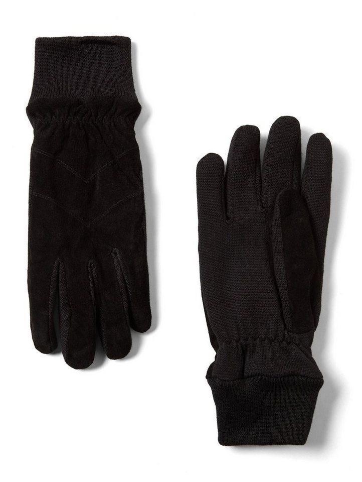 TOM TAILOR Baumwollhandschuhe »Handschuhe mit Rippblende« | Accessoires > Handschuhe > Wollhandschuhe | Schwarz | TOM TAILOR