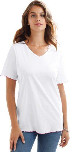 Classic Basics Shirt mit kontrastfarbigen Ziernähten