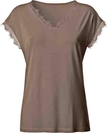 Classic Basics Shirt mit Spitzen-Verzierung am Ausschnitt