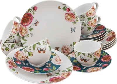 CreaTable Kaffeeservice »Enjoy Roses« (18-tlg), Porzellan
