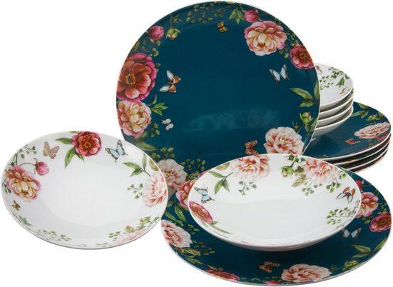 CreaTable Tafelservice »Enjoy Roses« (12-tlg), Porzellan