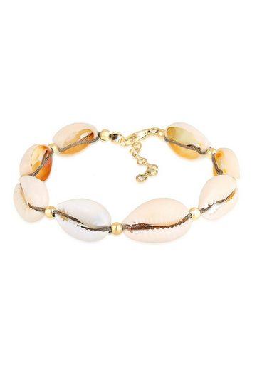 Elli Armband »Echte Kauri Muscheln Beach 925 Silber vergoldet«