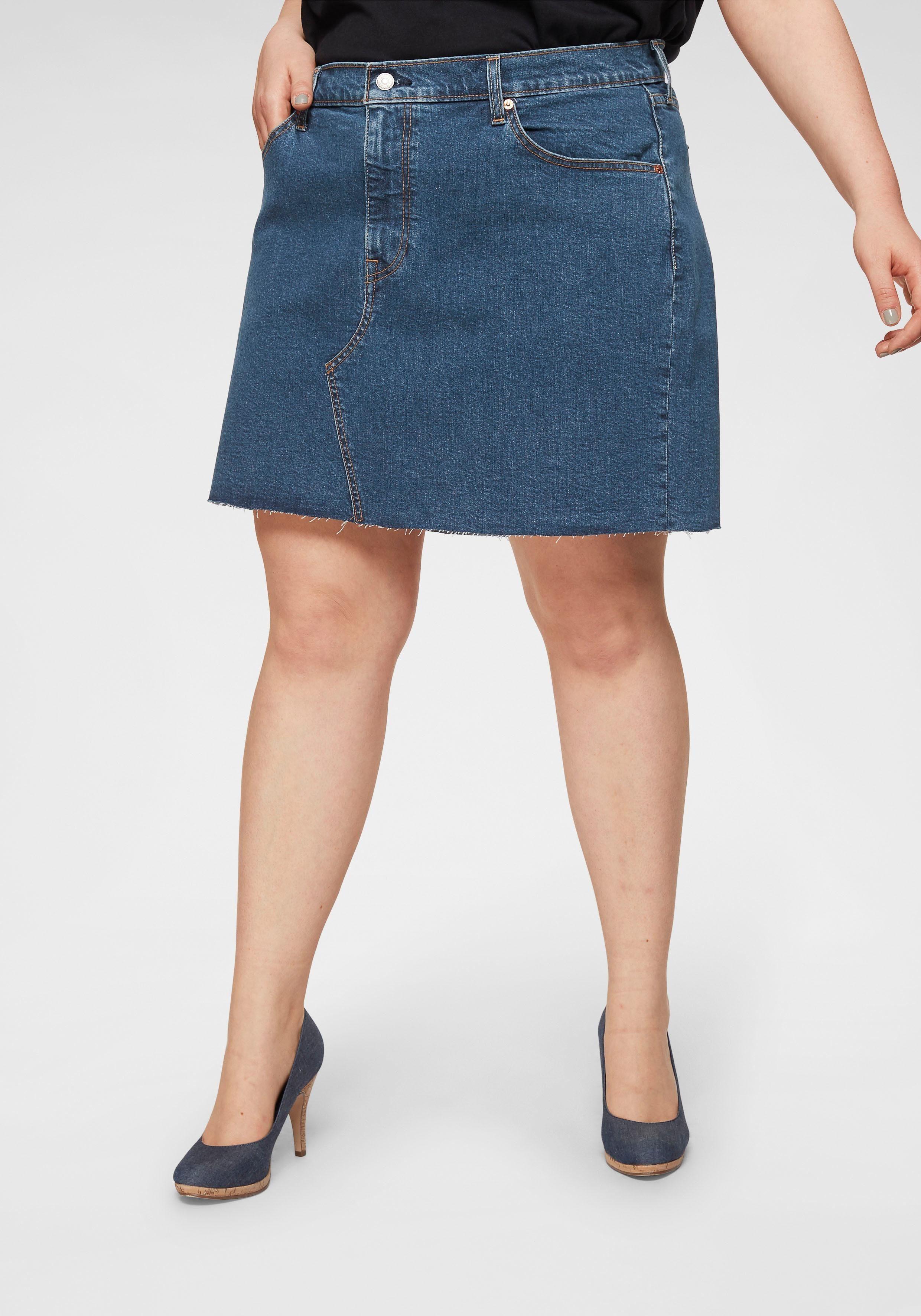 Jeansrock kurz Used-Waschung Kurzer-Rock Minirock Große Größen Blau Aniston SALE