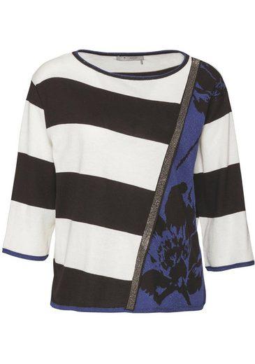 Monari 3/4 Arm-Pullover mit Mustermix und Glitzerdetails