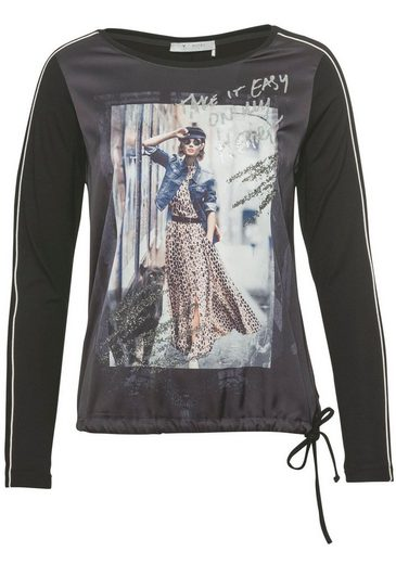 Monari Langarmshirt mit Fotoprint und Glitzerdruck